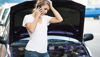 female women car problem hood mobile cell phone